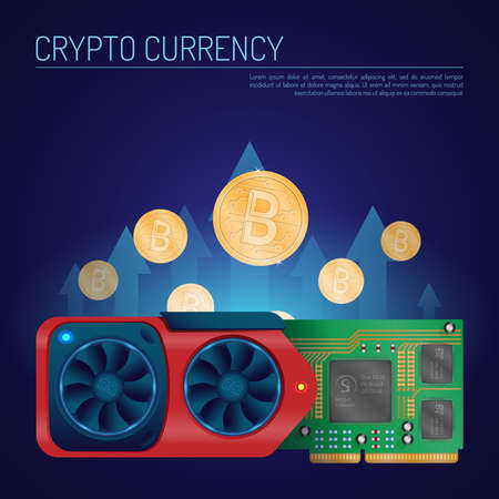 An isometric flat vector of a detailed video graphics card with bitcoins.