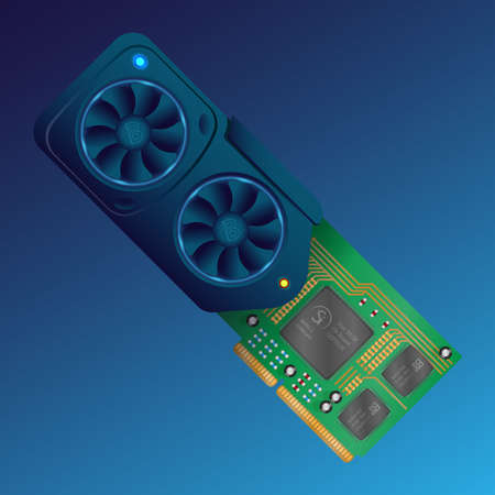 An isometric flat vector of a detailed video graphics card. A blue video card on a dark background. Vector illustration
