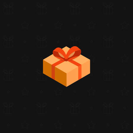 A multi-colored New Years gift box with a ribbon on a black background. Presents for holidays. Vector illustration.