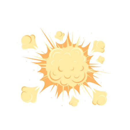 A yellow explosion or boom cloud icon in cartoon style isolated on white background. Vector illustration. Illustration