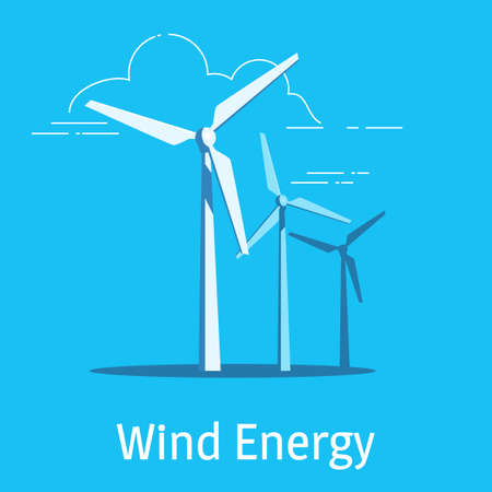 Wind power plant and factory on a blue background. Vector illustration. Çizim