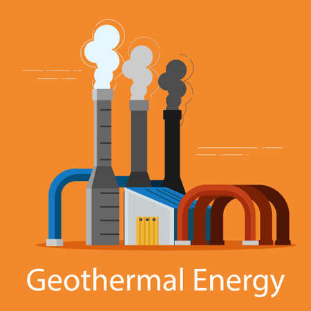 Geothermal flash power plant on an orange background.