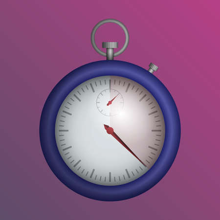 A blue realistic stopwatch on a pink background. Vector illustration.