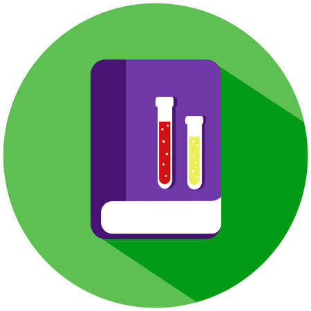 A purple chemical book with flasks with liquid in a green circle