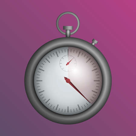 A realistic silver stopwatch on a pink background. Vector illustration. Illustration