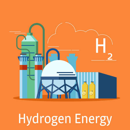 The hydrogen power plant on an orange background..