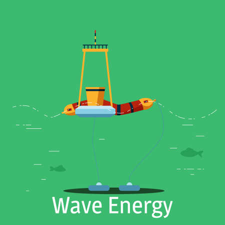 Wave power plant on a green background.