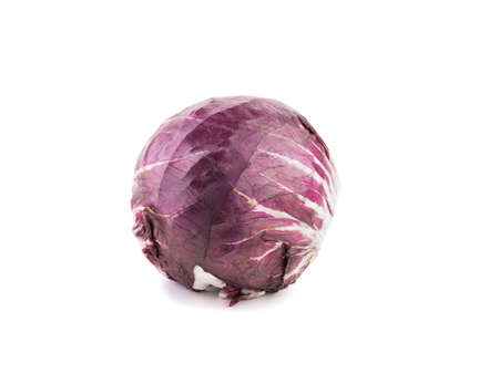 Whole red head of cabbage isolated on a white background with copy space. Healthy vegetables