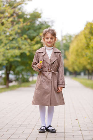 A pretty little girl in an autumn coat in the park. Autumn concept. 스톡 콘텐츠 - 111015851
