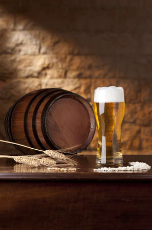 Dark beer barrel set with photo