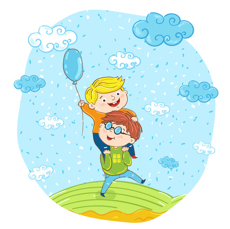 one boy: Happy children cartoon characters illustration. One boy sitting on another boy shoulders, having fun, smiling and playing at park. Summer holidays, vacation, happy people. friends having fun. Illustration