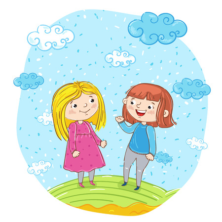 Happy young girl cartoon characters illustration. Two girlfriends having fun, smiling and chatting at park. Summer time, holidays, vacation, happy people, rest at nature. Friends having fun