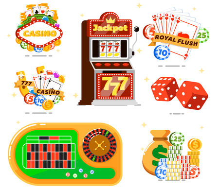 games of chance: Casino set with poker club isolated illustration. Casino slot machine, dice, playing cards, poker gambling chips, money, roulette table. Games of chance, gambling games of fortune entertainment Illustration