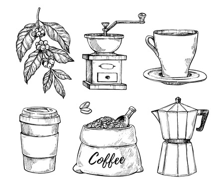 Natural grain coffee vintage hand drawn illustration set. Cup on saucer, coffee grinder, coffee beans bag, paper cup sketches isolated on white background.