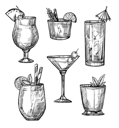 Alcoholic cocktail hand drawn sketch illustration. Alcohol drink in different glasses isolated on white background. Vectores