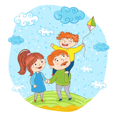 bonding: Happy family cartoon characters illustration. Father, mother and son with kite on meadow on sky background. Summer time, rest at nature. Family bonding activities, travel time. Happy people Illustration