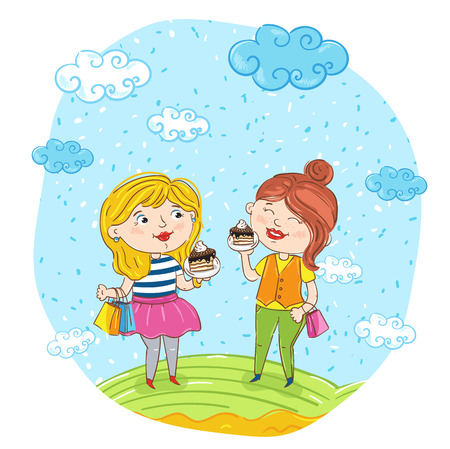 friends having fun: Happy young women cartoon characters illustration. Two girlfriends having fun, smiling, chatting and eating at park. Summer time, holidays, vacation, happy people. Friends having fun