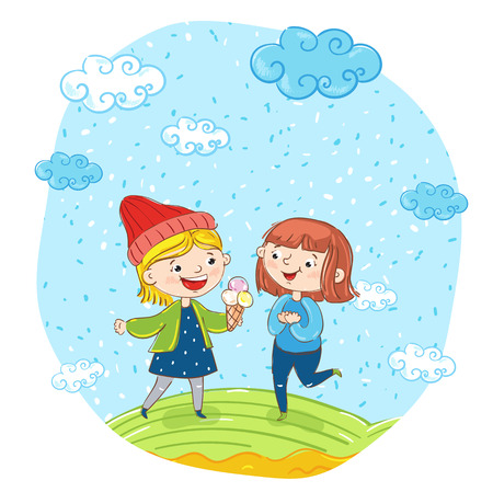 friends having fun: Happy young girl cartoon characters illustration. Two girlfriends having fun, smiling, chatting and eating ice cream at park. Summer time, holidays, vacation, happy people. Friends having fun Illustration