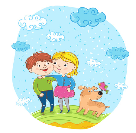 amigos abrazandose: Happy children with dog cartoon characters illustration. Smiling girl and boy cuddling and having fun, smiling and chatting at park. Summer holidays, vacation, happy people. friends having fun