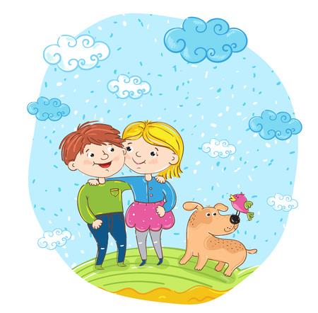 amigos abrazandose: Niños felices con los personajes de dibujos animados ilustración perro. niña y niño de abrazo sonriendo y divirtiéndose, sonriendo y charlando en el parque. vacaciones de verano, vacaciones, la gente feliz. amigos que se divierten Vectores