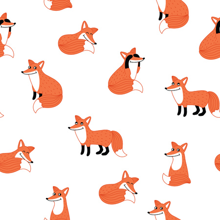 foxy: Funny fox hand drawn seamless pattern illustration. Forest animal. Activities fox with different emotions. Joy, happy, humor, greeting, pleasure, surprise, relaxation emotions. Kids background