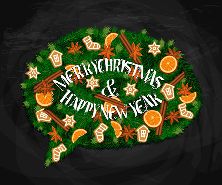 Merry Christmas and Happy New Year concept. Modern evergreen wreath in form of speak cloud of Xmas tree branches, orange, cinnamon and anise spices, cookies. For greeting or invitation cards Illustration