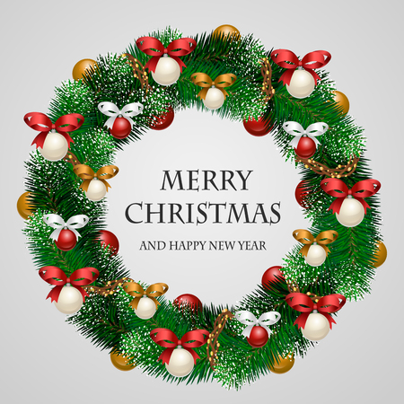 Christmas wreath. Beautiful evergreen wreath of Xmas tree branches with garland, toys, ribbons illustration. Merry Christmas and Happy New Year greetings. Home decoration for winter celebration