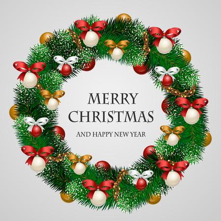 Weihnachtskranz. Schöne immergrünen Kranz von Weihnachtsbaumzweige mit Kranz, Spielzeug, Bänder Illustration. Frohe Weihnachten und Happy New Year Grüße. Startseite Dekoration für den Winterfest Vektorgrafik