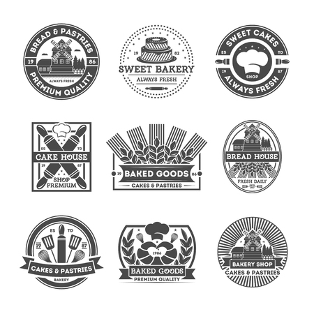 baked goods: Bakery shop vintage isolated label set. Bread and cake house symbols. Sweet bakery icon. Premium quality, always fresh product. Cakes and pastries icon. Baked goods. Rolling pin, cook cap, mill sign. Illustration
