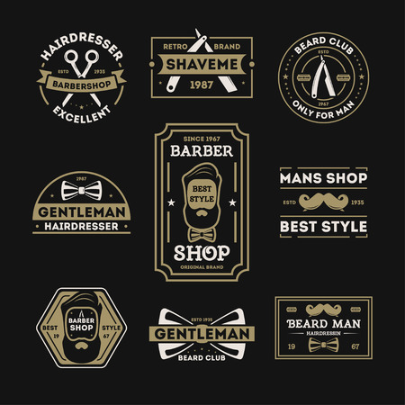 male grooming: Barber shop vintage isolated label set illustration. Hairdresser and gentleman symbols. Beard club icon. Best style only for man concept. Mans shop retro brand. Shave me sign. Straight razor Illustration