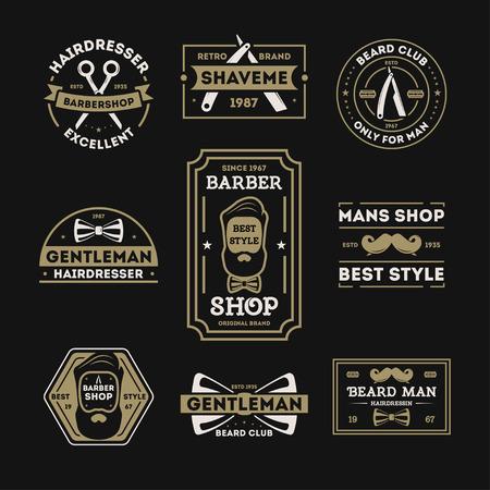 straight man: Barber shop vintage isolated label set illustration. Hairdresser and gentleman symbols. Beard club icon. Best style only for man concept. Mans shop retro brand. Shave me sign. Straight razor Illustration