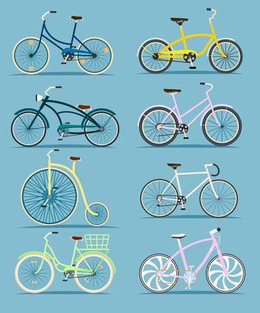 geïsoleerd fiets set illustratie in flat. Verschillende fiets collectie. Straat, berg, snel weg en oude retro-stijl fietsen. Sport en alledaagse milieuvriendelijk vervoer. Fiets voor man en vrouw