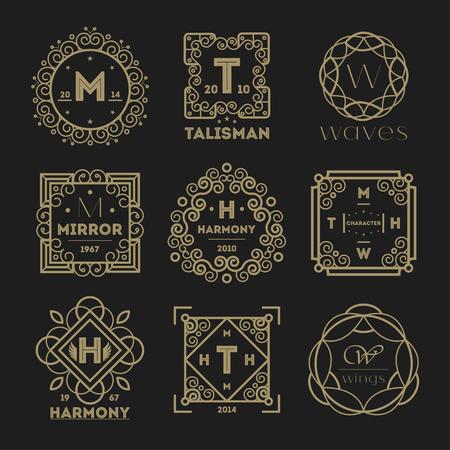 talismán: conjunto abstracto ilustración aislado etiqueta de la vendimia geométrica. Diseño de la línea de cosméticos, perfumes colección, ropa de diseño, joyas y lujos. Talismán, espejo, la armonía, la marca de las ondas