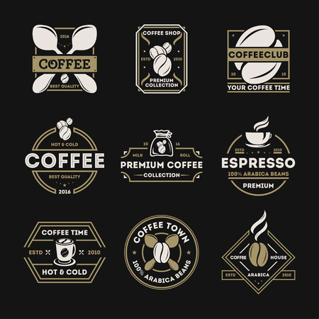 arabica: Coffee shop vintage isolated label set illustration. Best quality, premium collection icon. Coffee club symbol. Espresso, arabica beans icon. Hot and cold drink sign. Coffee time concept.
