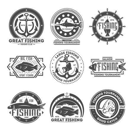 rod sign: Great fishing tournament vintage isolated label illustration. Good catch symbol. Big fish icon. Sport fishing club icon. Salmon, anchor, rod, swordfish sign. Go fishing concept.