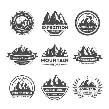 expeditions: Mountain explorer vintage isolated label illustration. Family leisure symbol. Mountain expeditions icon. Wild life concept. Adventure outdoor resort and hiking icon. Mountain range sign Illustration