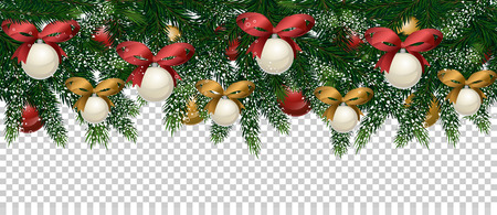 Merry Christmas and Happy New Year concept. Christmas decoration with Xmas tree branches, ball toys, stars, gingerbread cookies illustration. Christmas tree branch on transparent background