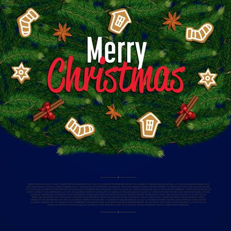 Merry Christmas greeting card vector illustration. Xmas congratulation with christmas tree composition, holiday decorations and space for text. Happy holidays wishes with orange, cinnamon and anise