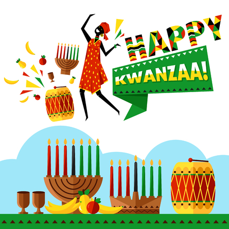 kwanzaa: Kwanzaa greeting card with silhouette Africans woman vector illustration. Happy Kwanzaa decorative greeting card. Seven kwanzaa candles in vector