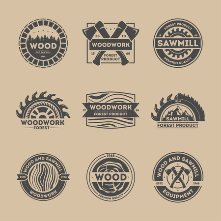 woodwork: Forest product vintage isolated label set vector illustration. Woodwork symbol. Premium quality icon. Wood and sawmill equipment logo. Wood, axe, saw, tree sign. Wood industry, sawmill service concept