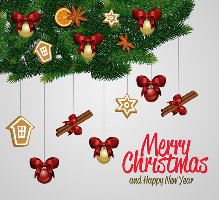 boll: Merry Christmas and Happy New Year greeting card vector illustration. Xmas congratulation with christmas composition. Christmas decorations with orange, cinnamon stick, star anise, boll with bow