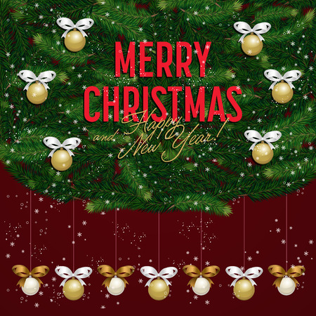 Merry christmas and happy new year greeting card illustration merry christmas and happy new year greeting card illustration xmas congratulation with green christmas tree m4hsunfo