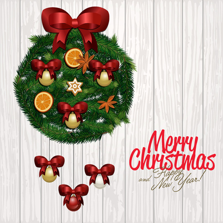 wooden stick: Merry Christmas and Happy New Year greeting card illustration. Xmas congratulation round composition with christmas tree, red bow, orange, cinnamon stick and star anise on wooden Illustration