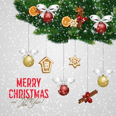 boll: Merry Christmas and Happy New Year greeting card  illustration. Xmas congratulation with snowy christmas composition. Christmas decorations with orange, cinnamon stick, star anise, boll with bow