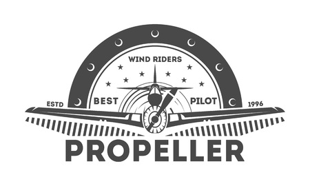 shool: Airplane vintage isolated label vector illustration. Wind riders show and best pilot symbols. Airplane academy and flying club sign. Air travel and plane tours logo. Airplane shool logo template Illustration