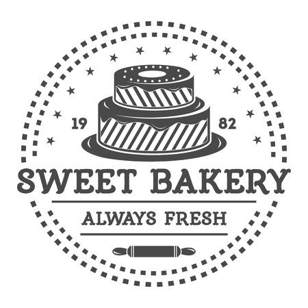 Backerei Shop Vintage Label Vektor Isoliert Brot Und Kuchen Haus