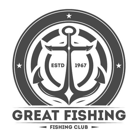 Gran torneo de pesca aislados ilustración vector de la etiqueta de la vendimia. Símbolo de buena captura. Deporte logotipo del club de pesca. Fish vector emblema logo en el fondo blanco