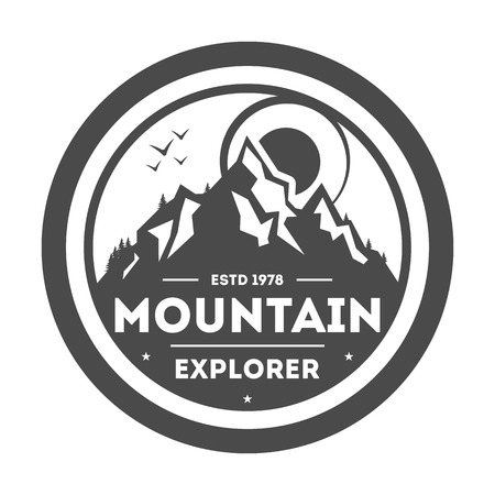 family hiking: Mountain explorer vintage isolated label vector illustration. Mountain expeditions icon. Wild life concept. Adventure outdoor resort and hiking logo. Mountain logo vector template Illustration