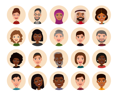 nationality: Happy people round avatar icon set vector illustration. Smiling men and women of different nationalities, people heads. Multicultural society concept, man and woman characters in national dress Illustration