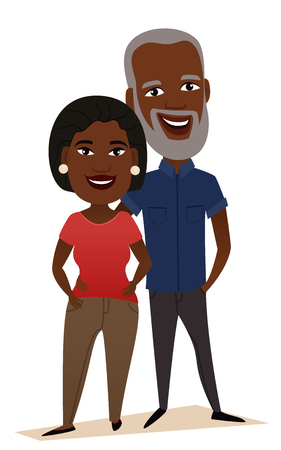 Happy black middle aged couple isolated vector illustration. Smiling grandfather and grandmother cartoon characters. Happy old people portrait, cheerful elderly family standing together, senior couple